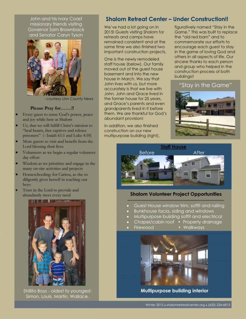 Shalom Retreat Center Mound City Kansas Christian Camp